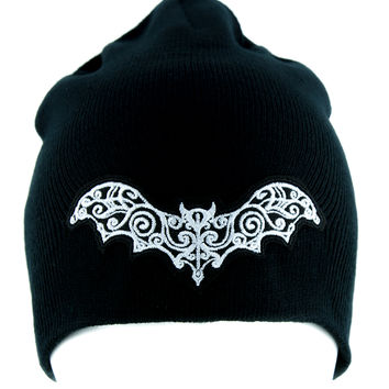Gothic Wrought Iron Vampire Bat Beanie Alternative Knit Cap Dracula