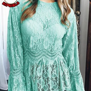 Autumn And Winter New fashion lace long sleeve top women Green