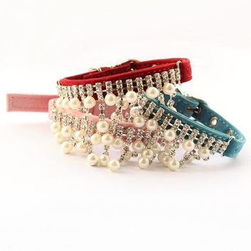 """Fancy Rhinestone """"Pearl"""" Necklace Collar For Your Cat or Small Dog"""