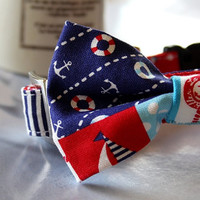 Nautical Anchor polka dot Bow Tie Dog Collar 3/4 Inch Wide