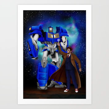 10th Doctor who with Giant retro Robot Phone Box iPhone, ipod, ipad, pillow case and tshirt Art Print by Three Second