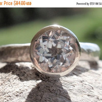 SALE 10% OFF engagement ring - white topaz ring, 7mm natural white topaz - stack ring - handmade - stackable jewelry - gemstone ring