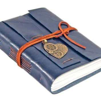 Navy Blue Faux Leather Journal - Blank Paper - Travel Journal - Art Journal - Diary - Prayer Journal - Heart Charm- Vegan - Steampunk