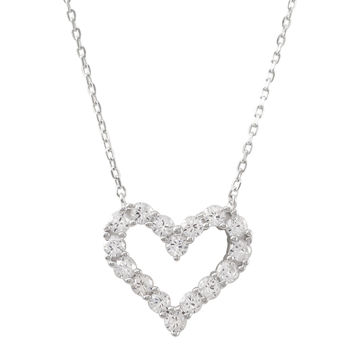 Rhodium Plated Sterling Silver, Open Heart CZ Necklace