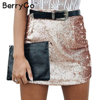 BerryGo Sexy gold sequin pencil skirt Women vintage summer black zipper bodycon skirt Elegant evening party club short skirt