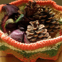 Handmade Fall Color Basket - Orange, Tan, Green, Cream Crochet Art Design - Home Decor, Office Decor, Kitchen Decor - Art Crochet Basket