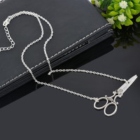 Fashion Cute Mini Scissor Pendant Silver Necklace!