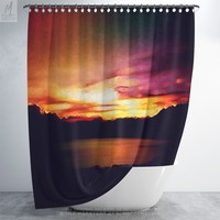 Shower Curtain With Vibrant Colors, Colorful Shower Curtain, Landscape Art, Nature Art, Home Decor, Bath Curtain, Bathroom Decor, Dorm Decor