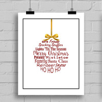 Christmas Ornament Holiday Decoration Typography, Home Decor Wall Art, PDF/JPG, (8x10 Inches)