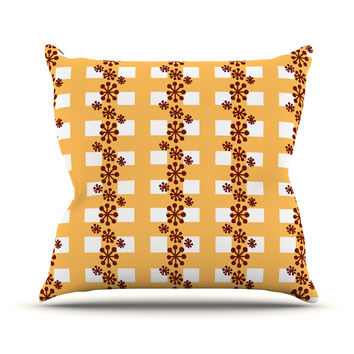 "Jane Smith ""Mushroom Repeat"" Brown Yellow Outdoor Throw Pillow"