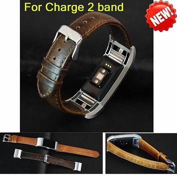 NEW arrival Leather Strap Watchband For Fitbit charge 2 band wristband for charge 2 strap Heart Rate & Activity Tracker bracelet