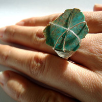Raw turquoise ring - Natural stone ring - size 7 1/2  - OOAK ring - silver ring - chunky ring - cocktail ring - raw stone ring -wrapped ring