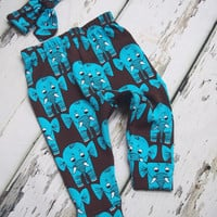 Baby Leggings , Blue Brown Elephant Leggings , Baby Boy Leggings , Baby Girl Clothes , Unisex Baby Clothes , Baby Pants , Boys Trousers