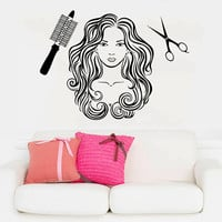 Wall Decal Vinyl Sticker Decals Art Home Decor Design Mural Hairdressing Hair Beauty Salon Nail Girl Woman Scissors Fashion Cosmetic AN133