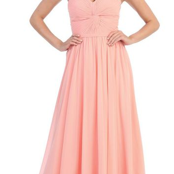 CLEARANCE - Peach Bridesmaid Dress Strapless A Line Chiffon (Size Small)
