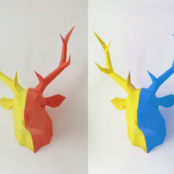 Papercraft template deer, stag, paper hunt trophy