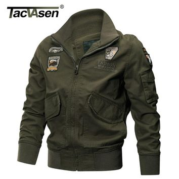 TACVASEN  Military Jacket Men Winter Thermal Cotton Jacket Coat Army Pilot Jackets Air Force Cargo Coat Slim type TD-QZQQ-005