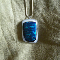 Fused Glass Necklace, dichroic glass silver white bail white background layered unique original adjustable blue simple rectangle rectangular