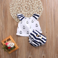 2PCS Newborn Toddler Infant Baby Girls Kids Clothes Set Cotton Anchor Striped T-shirt Tops+Shorts Bodysuit Sunsuit Outfits 0-4Y