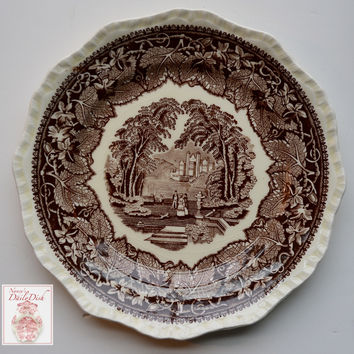 Vintage English Ironstone Brown Transferware Plate Masons Vista