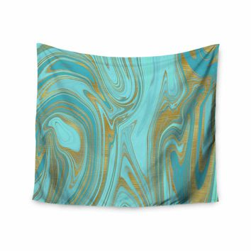 """Cafelab """"Light Water And Gold"""" Teal Gold Abstract Celestial Mixed Media Painting Wall Tapestry"""