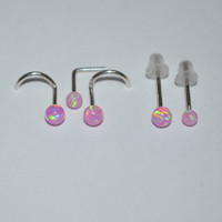 Silver Pink 3mm Opal Nose Stud/Ring - 20 gauge Small Earring, cartilage,helix,tragus,ear handcrafted 20g jewelry
