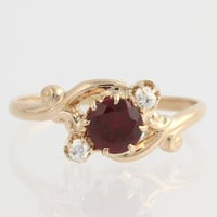 Edwardian Synthetic Ruby & Diamond Ring - 14k Yellow Gold Band Women's Size 6 F7533