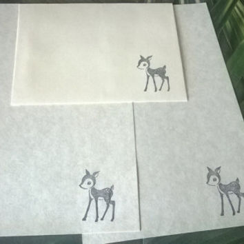 Deer stationery Set 1 5 10 parchment paper letter writing and envelope hand stamped Cartoon Fawn vintage style handmade card adult coloring