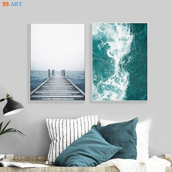 Modern Ocean Water Waves Print Turquoise Blue and White Abstract Canvas Painting Coastal Wall Art Beach Decor Livingroom Framed