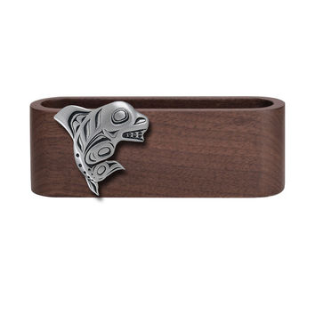 Wooden Business Card Holder with Fine Pewter Orca / Killer Whale Emblem