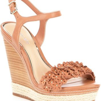 Gianni Bini Petall Floral Banded Leather Wedges | Dillards