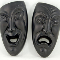 Vintage Black Chalkware Comedy Tragedy Drama Masks - American Art Industries - 1974