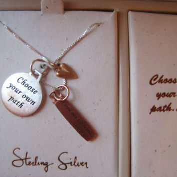 Inspirational~Sterling Silver~Compass Charm Shakespeare~Box Pendant Necklace