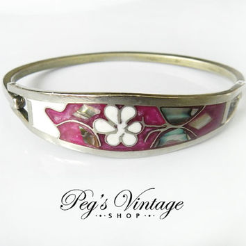 Vintage Sterling Silver Hinged Bracelet /Taxco Mexico/Abalone Shell Inlay, Pink, Flower/Butterfly Clamper Bracelet