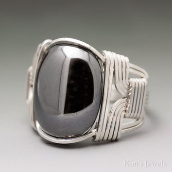 Hematite Sterling Silver Wire Wrapped Cabochon Ring