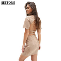 Fashion Women Elegant Faux Suede Leather 2 Pieces Dress Lady Vintage Short Sleeve Casual Sexy Hollow Out Back Party Dresses