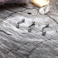 "16g Rook earring stainless steel gem ball ends curved barbell 5/16"" length vertical labret eyebrow piercing rings cartilage  barbell silver"