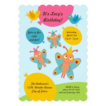 Butterflies and ballons birthday party invitation