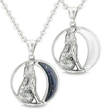Amulets Couples Best Friends Howling Wolf Wild Moon Powers Blue Goldstone White Cats Eye Necklaces