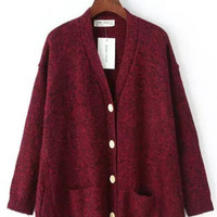 Red Salt & Pepper Button Down Oversized Cardigan