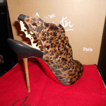 Christian Louboutin MARKESLING Laser Cut Peep Toe Pony Leopard Booties Shoes