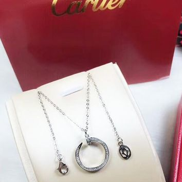 Cartier Fashion New More Diamond Pendant Women Sterling Silver Personality Necklace Silver