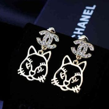 Chanel Women Fashion CC Logo Cat Stud Earring Jewelry