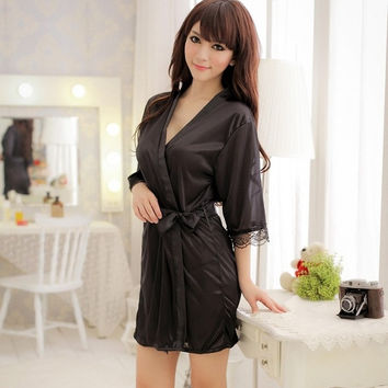 2015 Fashion Women Lace Sexy Perspective Sexy Lingerie Hot Sale Ladies Temptation Soft Underwear Bathrobe #S0134 = 1932447876