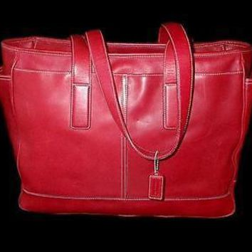 COACH Hamptons Red Leather Multifunction XL Baby Diaper Tote Bag Purse Satchel