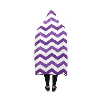 Purple chevron hooded blanket 50x40