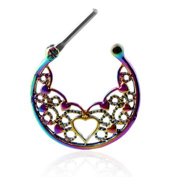 SWANJO 1pc 16G Rainbow Tribal Fan G23 Titanium Shaft Real Piercing Septum Clicker Septo Nose Ring Earrings Piercing Body Jewelry
