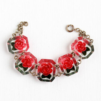 Vintage Lucite Flower Panel Brass Tone Bracelet - 1940s Clear Early Plastic Reverse Carved Red Floral Statement Petite Costume Jewelry