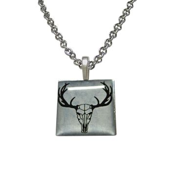 Square Deer Head Skeleton Image Pendant Necklace
