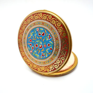 Vintage Volupté Compact, Oversized Enamel and Brass Mirrored Compact, Burgundy, Blue and Gold Floral, circa 1940s-1950s